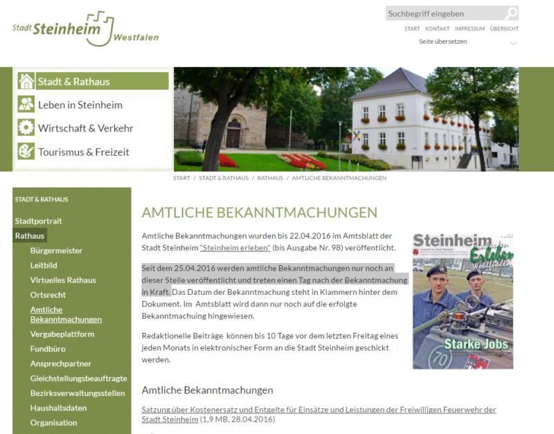 Steinheim - Amtliche Bekanntmachungen nun im Internet - Bild 01