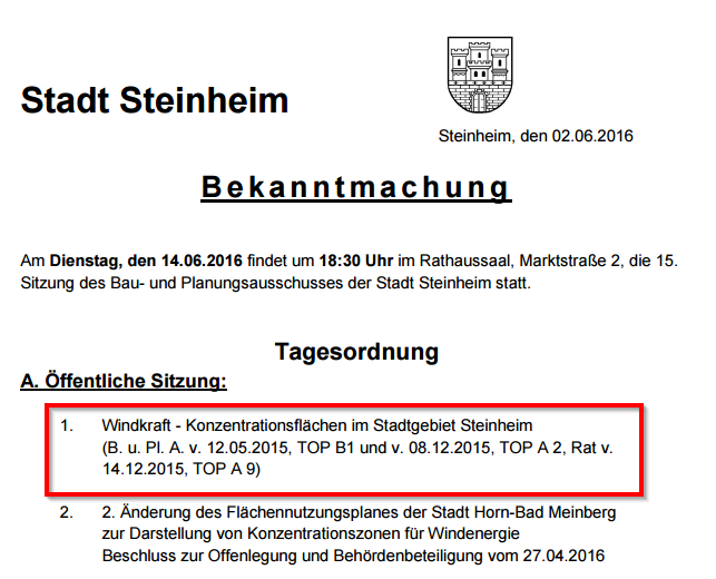 Steinheim - Windkraft und Rathaus - Bild 01 Quelle: Rats- und Bürgerinformationssystem - 15. Sitzung des Bau- und Planungsausschusses