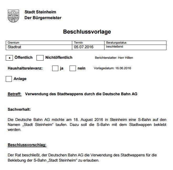 S-Bahn 'Stadt Steinheim' erhält Stadtwappen - Bild 01 - Quelle: Bürgerinformationssystem