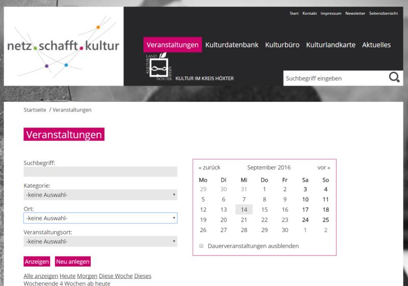 Kreis Höxter - Internetseite 'Netz schafft Kultur' - Bild 01