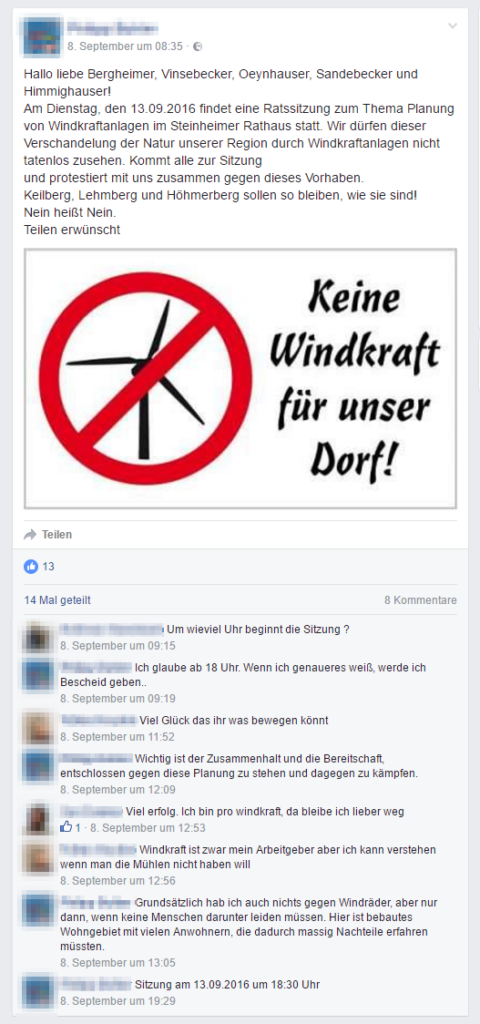 Steinheim - Protest gegen Windkraft - Bild 03 - Quelle: https://www.facebook.com/groups/SteinheimNRWundUmgebung/ - Beitrag 11.09.2016 21:36 Uhr