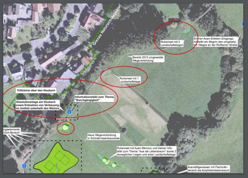 Steinheim - Landschaftspark Emmerauen wird ausgebaut - Bild 12 - Quelle 4. Sitzung des Heimatpflege-, Kultur- und Umweltausschusses 2016 TOP-Nr 11 Anlage  20160614 Übersicht1.BA Emmeraue (öffentlich)